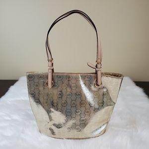 Michael Kors Jet Set Pale Gold Monogram Grab Bag